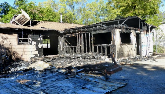 This Willow Street home in Cottonwood is only a shell after it was destroyed by a recent fire.
