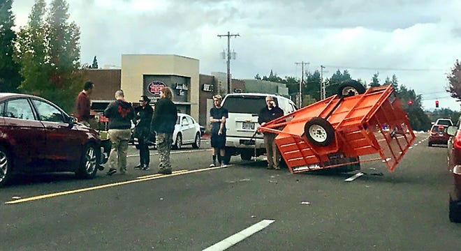 An accident on Commercial Street SE near Hilfiker Lane is backed up traffic headed northbound Monday afternoon.