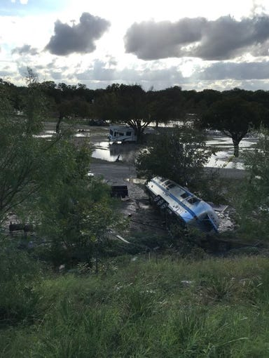 Flooding of the South Llano River at Junction swept away an RV park in the early hours of Monday, Oct. 8, 2019.