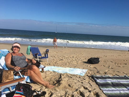 Ocean City local Ellen Ruby's mother smiles because of the warm weather on Tuesday, Oct. 9 in Ocean City.