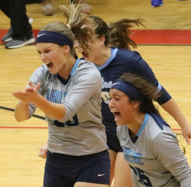 Airline's Brooklyn Brandon and Zahria Lloyd are fired up after beating Ruston.