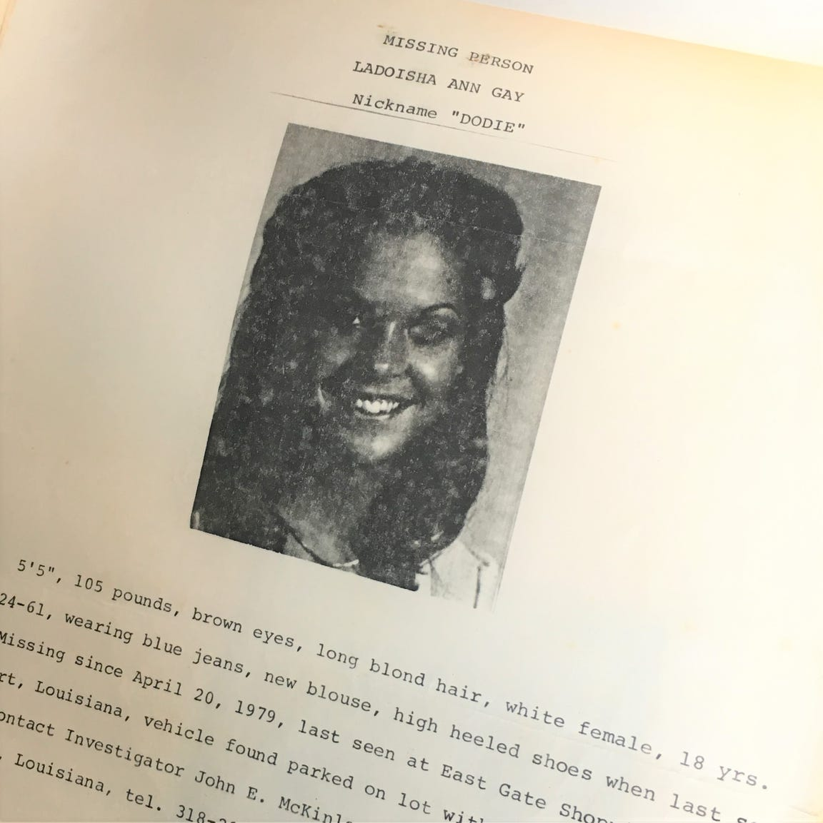 A missing person information sheet distributed at the time of Dodie Gay's disappearance in 1979.