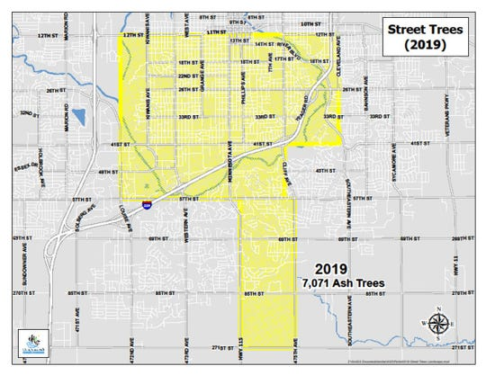 This map shows the section of Sioux Falls the parks office has designated for ash tree removal during the first year of its 10-year emerald ash borer management plan.
