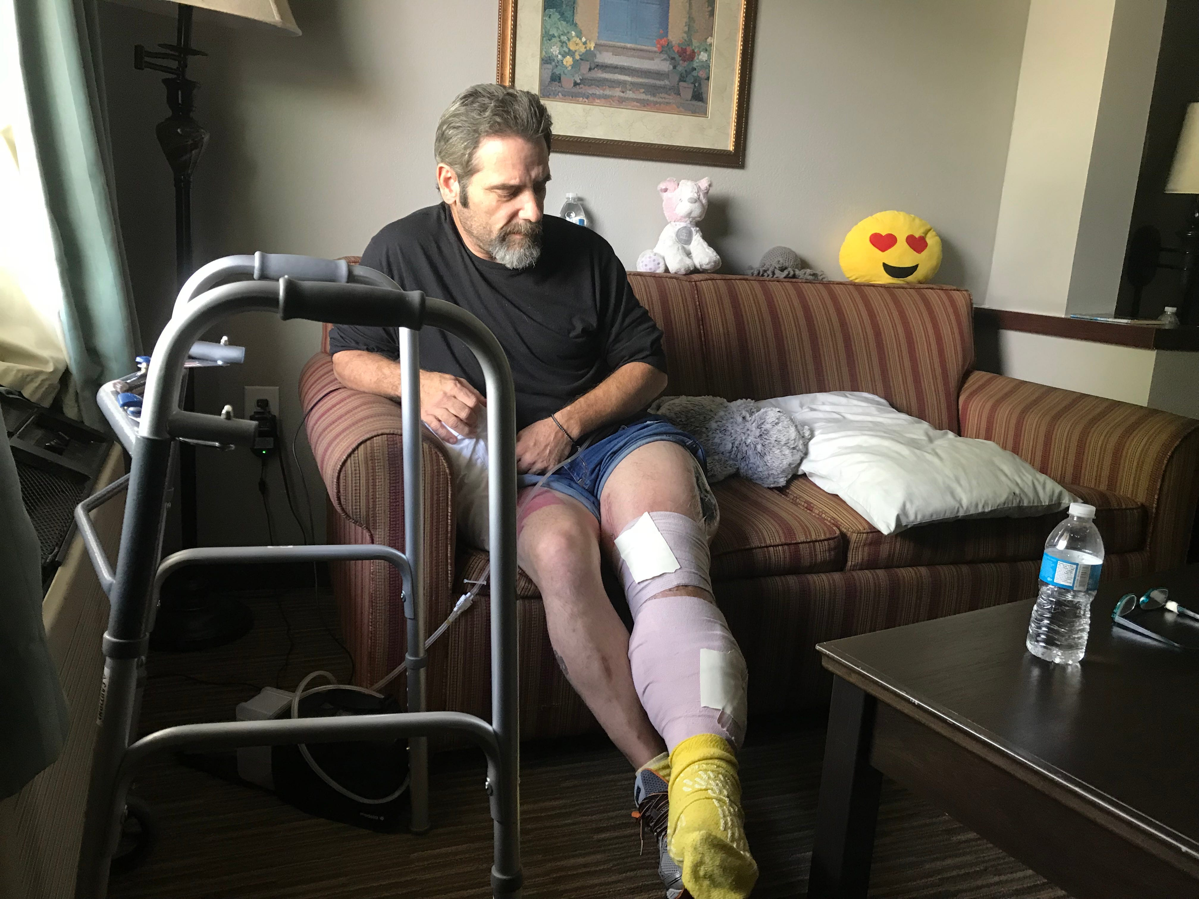 Terry Wadlow and his family wound up in Springfield following an accident that left his leg crushed and he was sent to Cox for treatment. They are from Oklahoma. He said he needs to be close to Cox South because he has doctor's appointments twice a week. The family says they can no longer pay their motel bill.