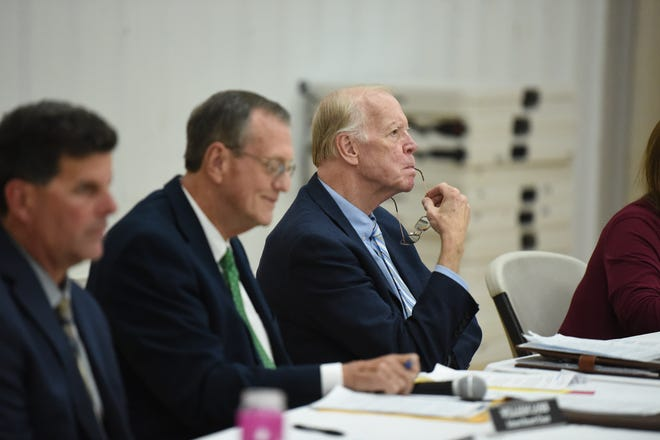 School board members listen during public remarks concerning the Robert E. Lee High School name. Staunton, Va., School Board voted 4-2 Monday, Oct. 8, 2018 to drop the Robert E. Lee name from the city's only high school. The new name and exact timing are to be determined after more study and public input.