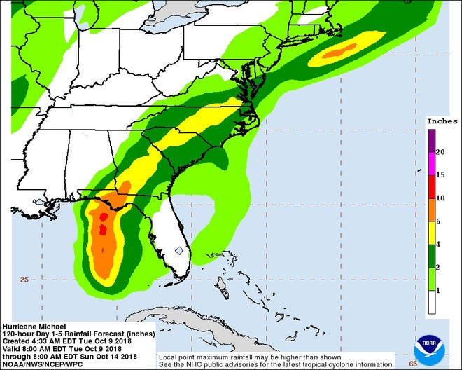 Rain expected from Hurricane Michael moving up the coast this week.