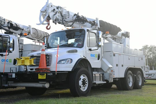 Orlando Utilities Commission linemen trucks arrive to Tallahassee in preparation the days following Hurricane Michael on Tuesday, Oct. 9, 2018.