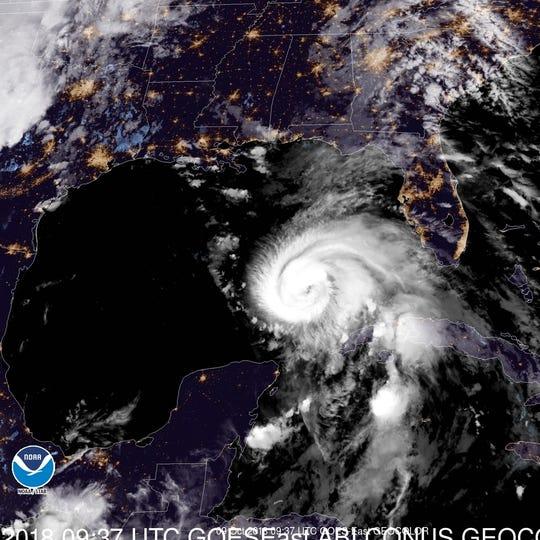 A 5:30 a.m. satellite view of Hurricane Michael.