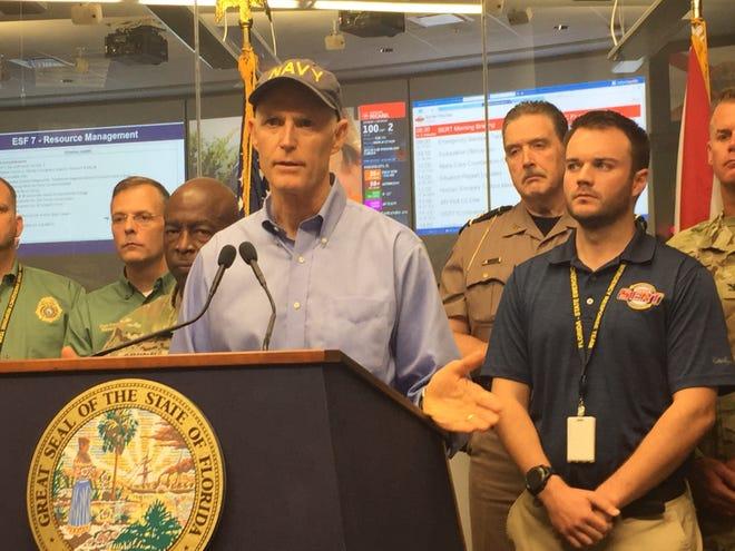 Gov. Rick Scott speaks at the Emergency Operations Center Tuesday morning.