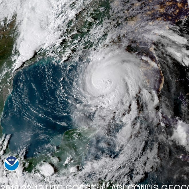 Satellite image of Hurricane Michael as of 6 p.m. Tuesday night.
