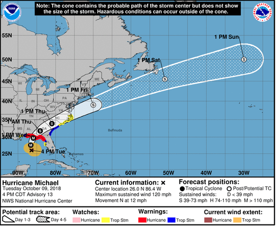 The NWS Hurricane Michael 4 p.m. forecast for Oct. 9.