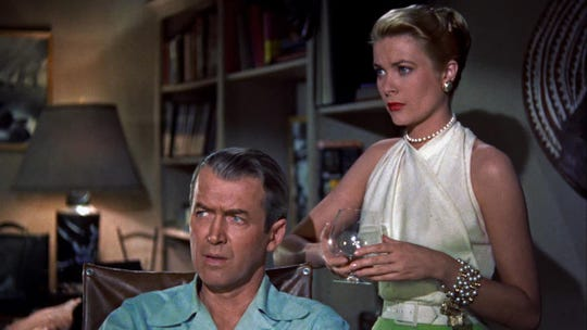 """Jimmy Stewart and Grace Kelly suspect the neighbor in the classic """"Rear Window."""""""