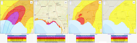 Hurricane Threats and Impacts graphic for Hurricane Michael.