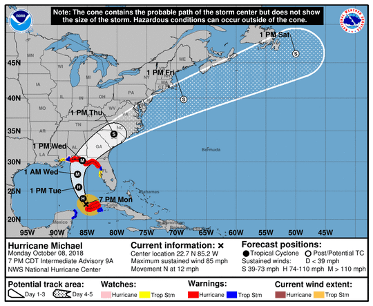 Projected path of Hurricane Michael as of 8 p.m. Monday, Oct. 8, 2018.