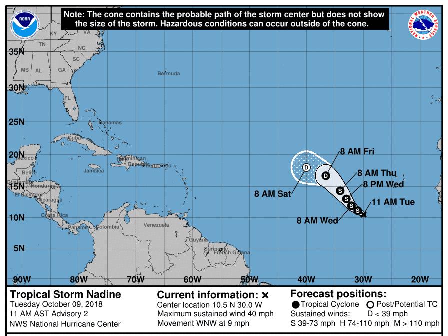 Tropical Storm Nadine 11 a.m. Oct. 9, 2018.