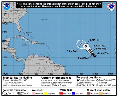hurricane michael tropical storm nadine hurricane leslie