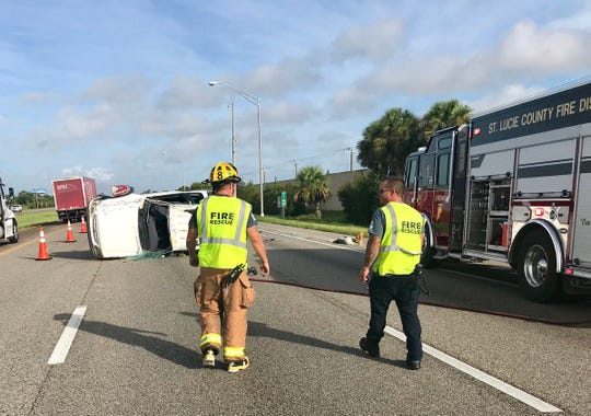 The scene of a rollover crash on northbound I-95 near Fort Pierce.