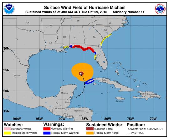 Hurricane Michael 5 a.m. Oct. 9, 2018
