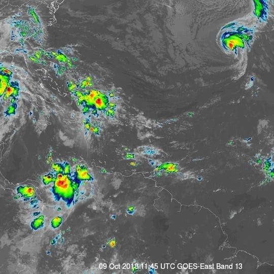 Tropical Storm Nadine forms in Atlantic; Leslie becomes a hurricane again; another system pops up in Caribbean