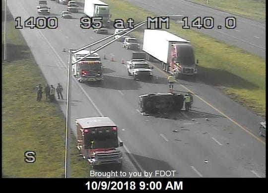 Scene of a crash on northbound I-95 in St. Lucie County.