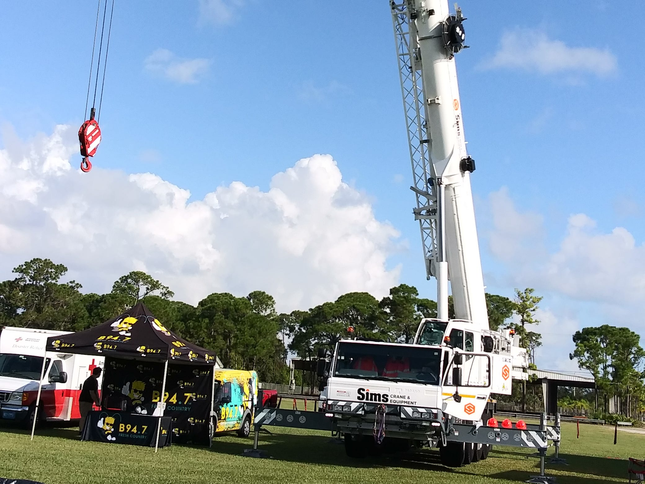 Sims Crane which can stretch to 136 feet high.