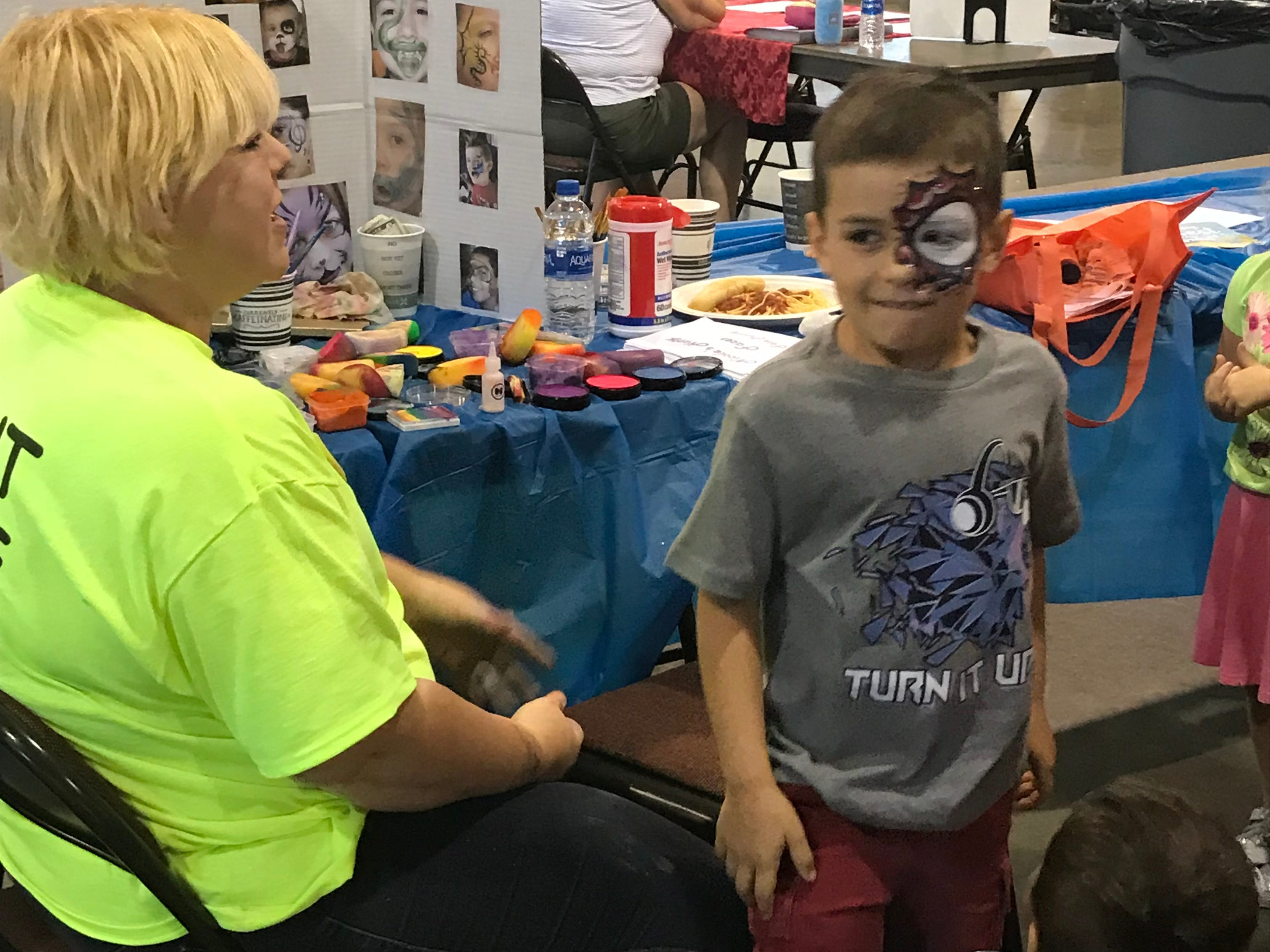 Face painting was among the activities at Touch a Truck.