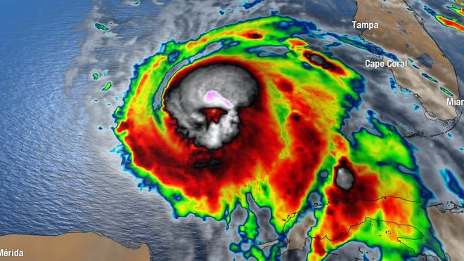 Image of skull in early Oct. 9, 2018, radar view of Hurricane Michael?