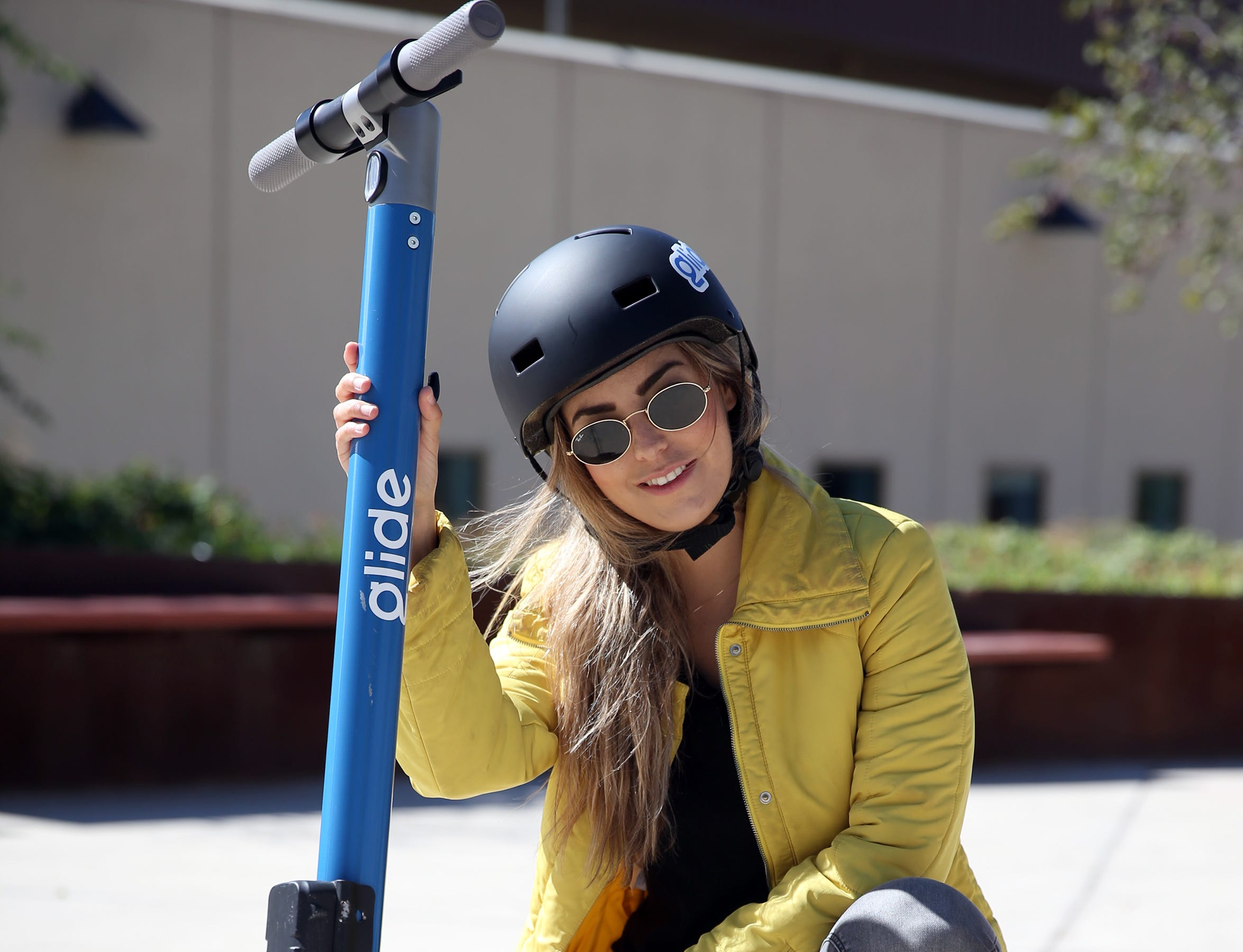 Pauline Sanchez with one of the new Glide electric scooters.