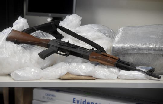Drugs, weapons and paraphernalia were on display during a news conference by the Ventura County Sheriff's Office in October to announce a large-scale drug seizure and the arrests of several suspected members of an organized crime ring.