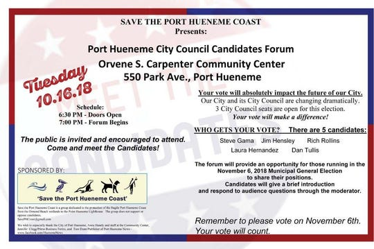 """Save the Port Hueneme Coast"" will host a candidates' forum on Oct. 16."