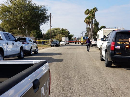 Ventura County sheriff's deputies and Oxnard police respond to a report of gunshots in the unincorporated community of El Rio on Oct. 9.