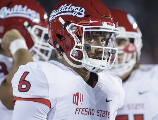 Fresno State's Marcus McMaryion in the game against UCLA at the Rose Bowl on Saturday, September 15, 2018.