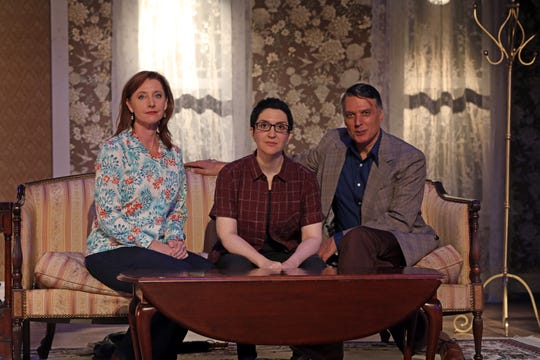 From left, Rita Harvey, Lauren Cohn and Tony nominee Robert Cuccioli are photographed on the set of White Plains PAC presentation of the New York regional premiere of the Tony-winning play 'Fun Home'  Oct. 8, 2018.