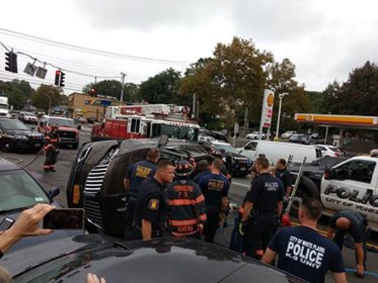 One person had to be pulled out of an SUV that overturned at Yonkers Avenue and Kimball Avenue in Yonkers on Oct. 9, 2018.