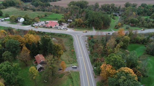 Drone photos Oct. 8, 2018, of the scene at Route 30 and Route 30A in Schoharie, New York, where a limousine car accident killed 17 passengers plus the driver and an additional 2 pedestrians two days before.