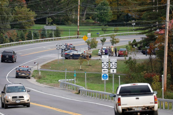 The scene at Route 30 and Route 30A in Schoharie, New York on Oct. 8, 2018, where a limousine car accident kill 17 passengers plus the driver and an additional 2 pedestrians on Saturday.