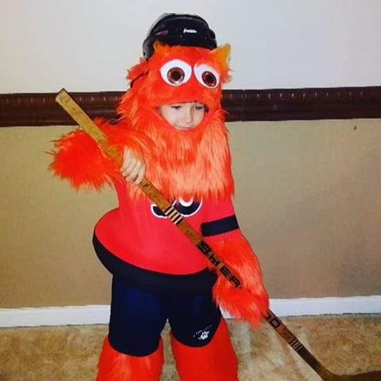 Gritty has already inspired this impressive Halloween costume, made by this Philadelphia 7-year-old's mother.