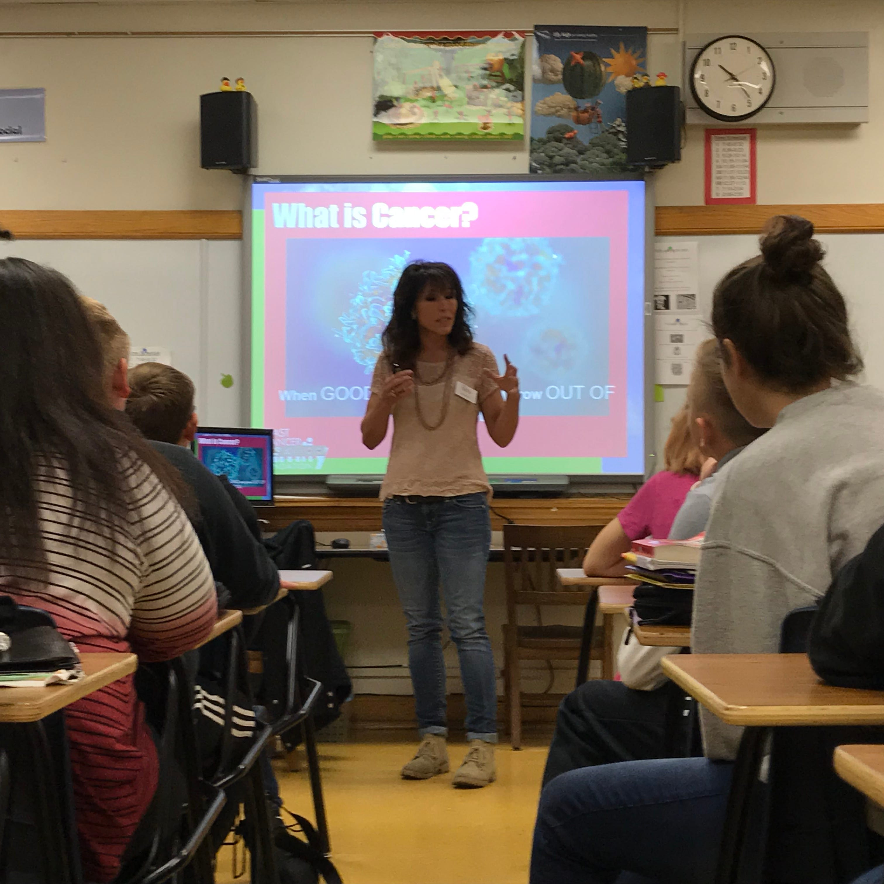 'This message is really for everyone': She brings breast cancer prevention to school