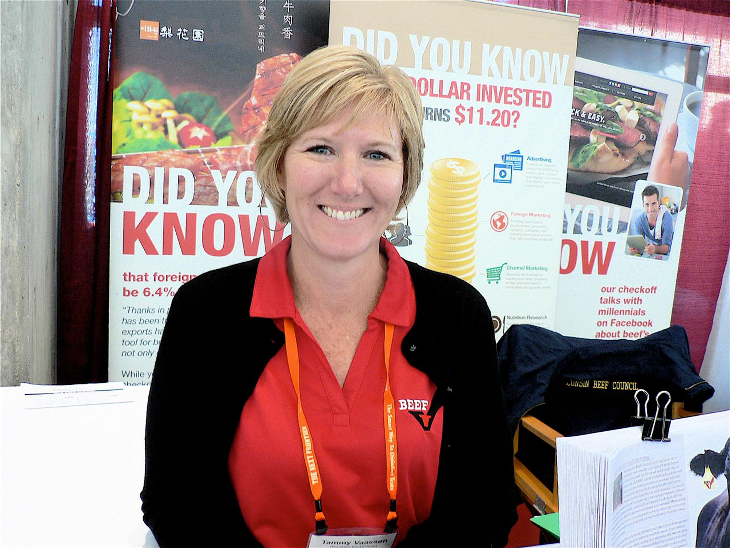 Tammy Vaassen, Executive Director of the Wisconsin Beef Council was at her first Dairy Expo after replacing longtime - serving John Freitag in the position.