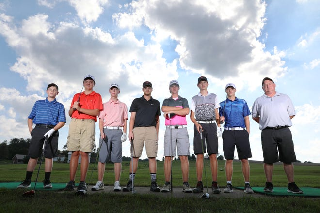 The Crooksville High School golf team, Tanner Collins, left, Curtis Crowder, Owen Carney, Jarhett Arnold, Brock White, Blake White and Caden Sparks, with head coach Brian Carney, will play in the Division III state golf tournament in Sunbury starting Friday.