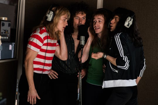 "L-R: Ben Hardy (Roger Taylor), Gwilym Lee (Brian May), Joe Mazzello (John Deacon), and Rami Malek (Freddie Mercury) star in ""Bohemian Rhapsody."""