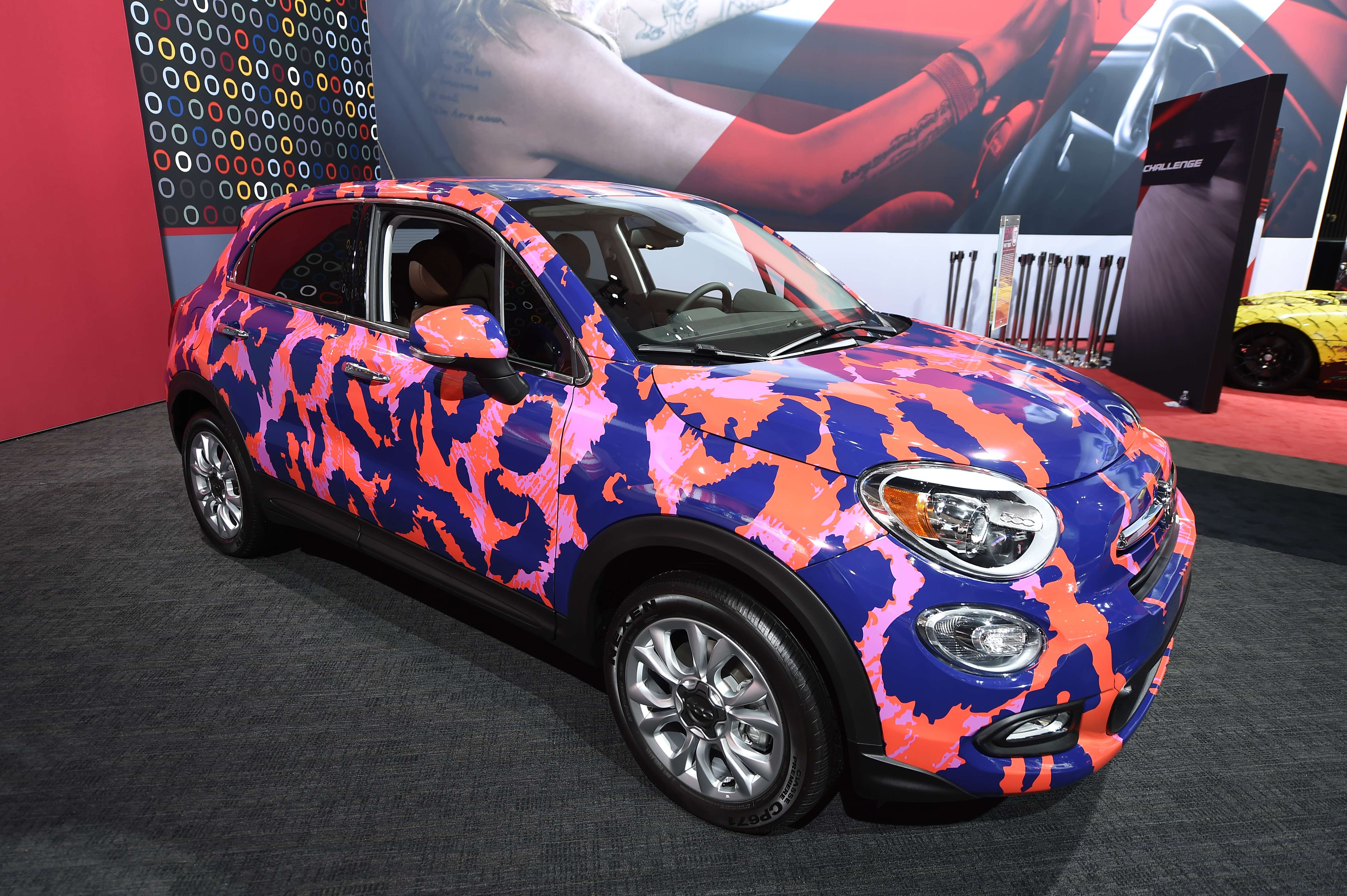 A Fiat 500X with DVF (Diane Von Furstenberg) custom wrap is displayed at the 2015 Los Angeles Auto Show on Nov. 19, 2015.