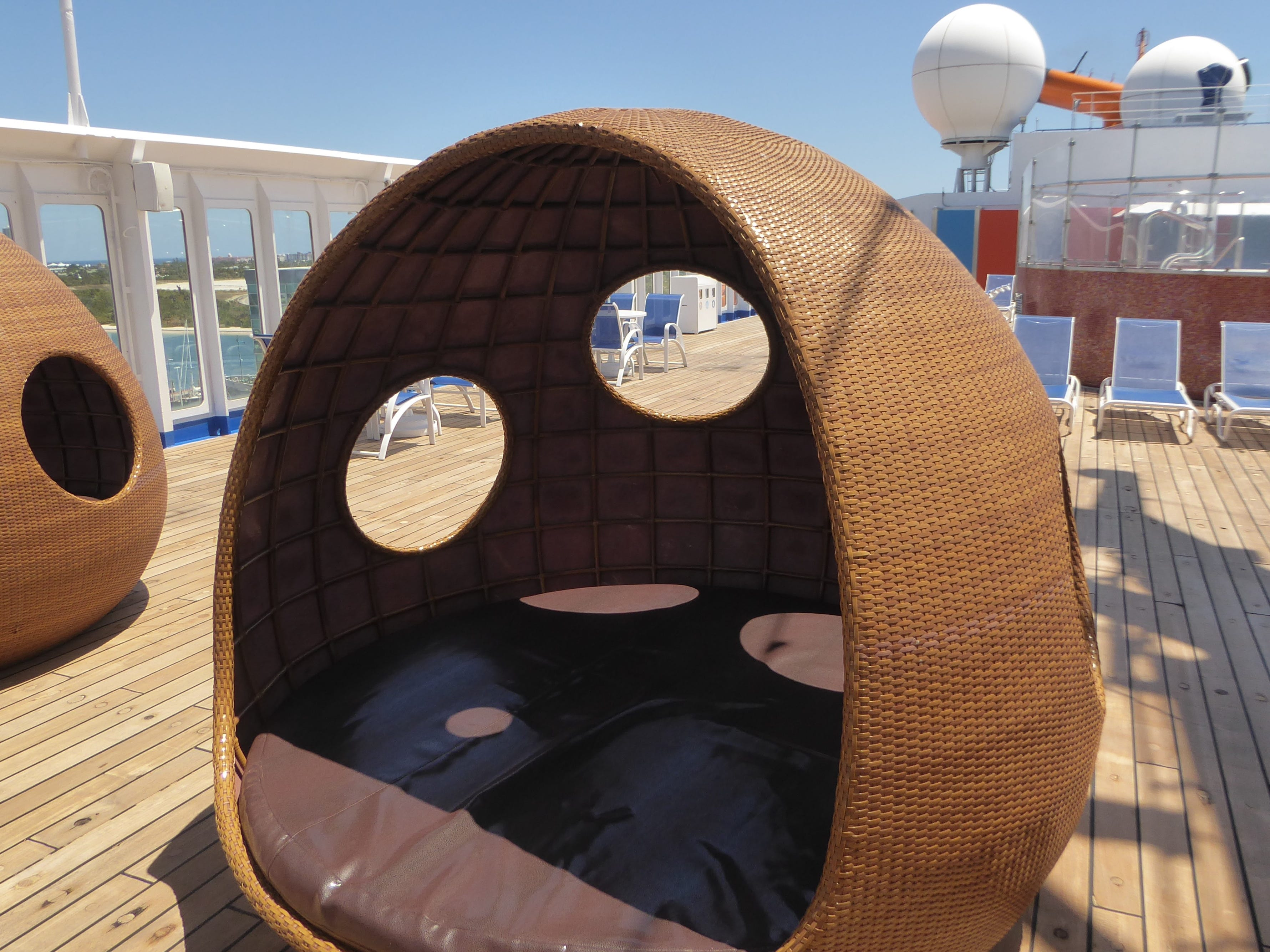 There are cabanas in the forward portion of Sun Deck.