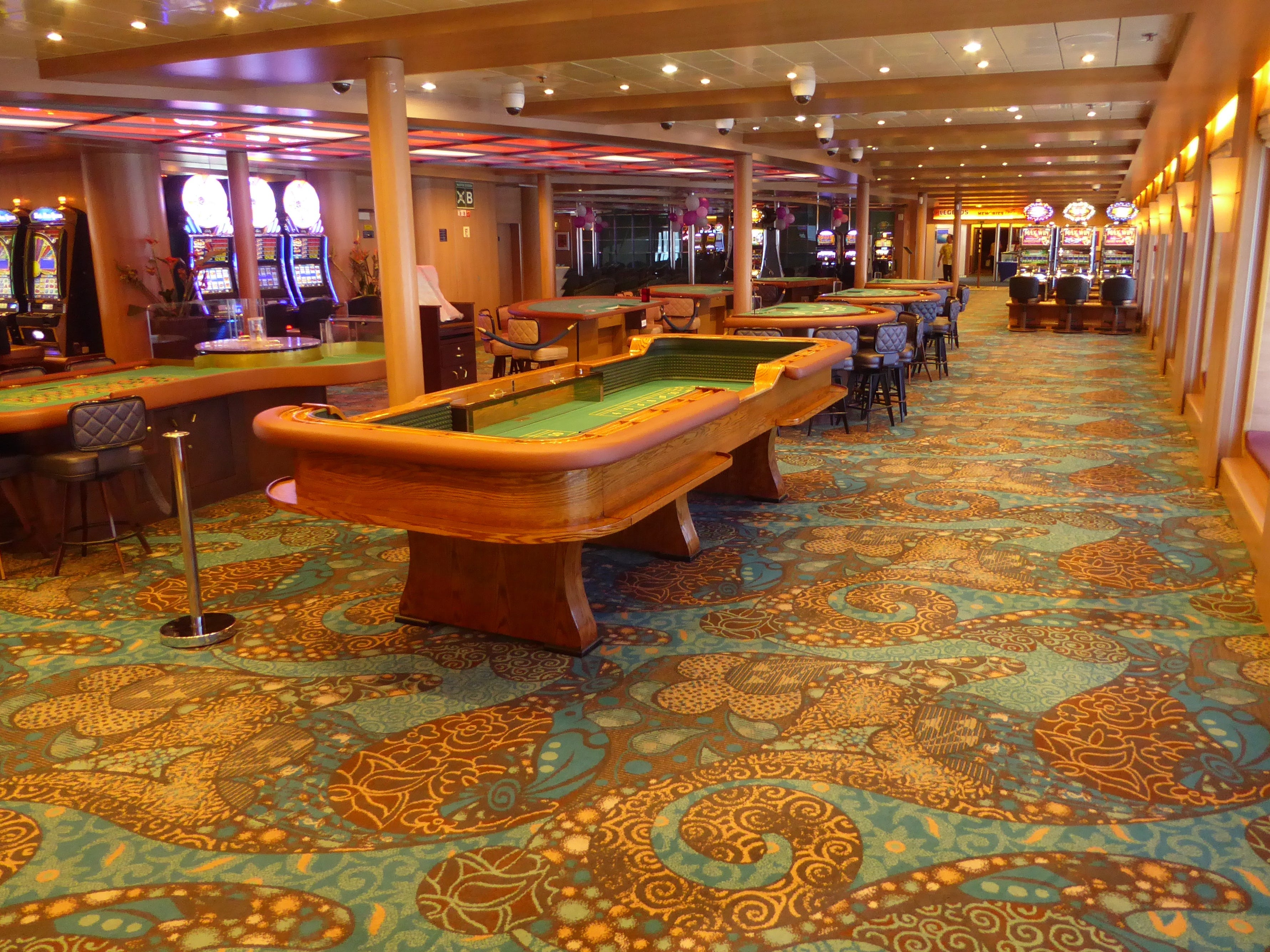 The Par-A-Dice Casino is just aft of the Encore Lounge on Paradise Deck.