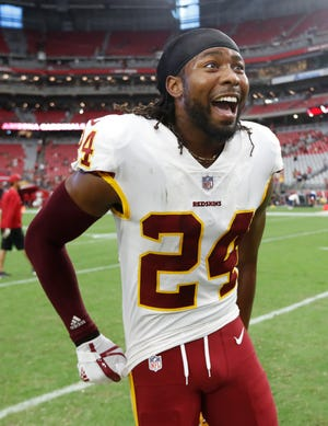 Washington Redskins defensive back Josh Norman (24) after an NFL football game against the Arizona Cardinals, Sunday, Sept. 9, 2018, in Glendale, Ariz.