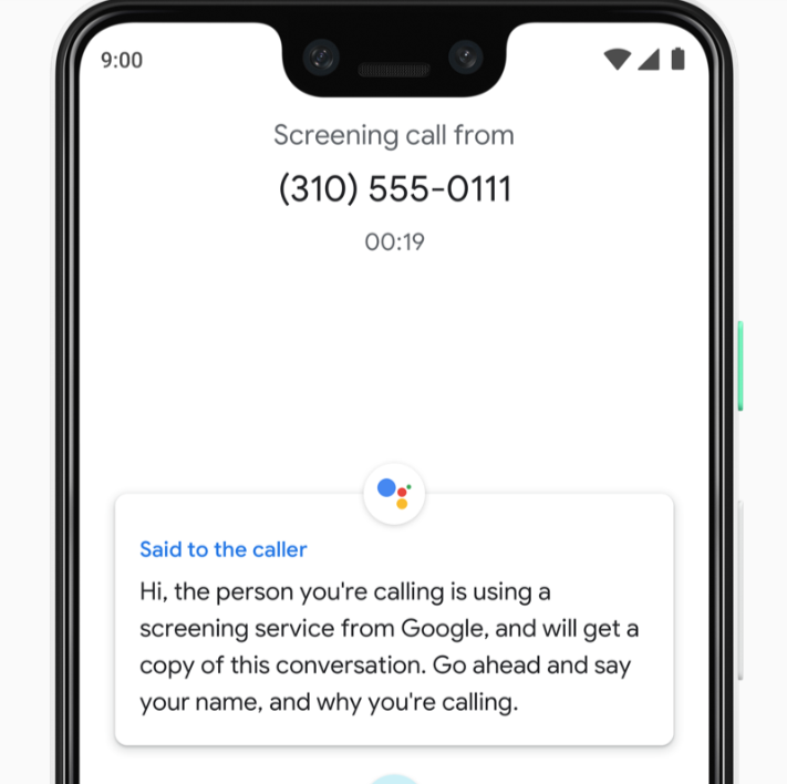Call Screen on Google's Pixel 3 XL.