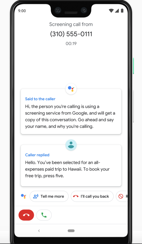 Call screen on Google's Pixel 3