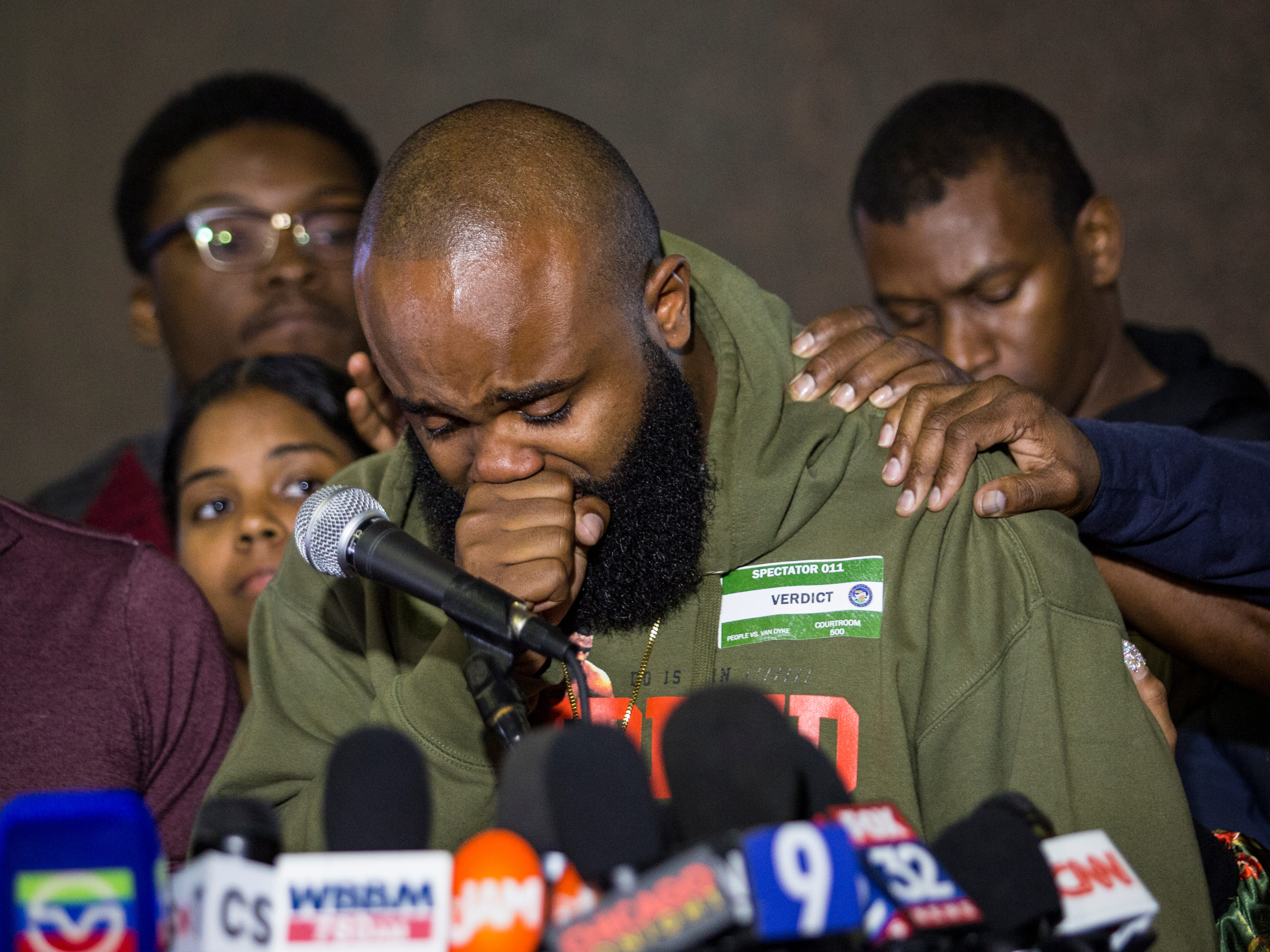 Chicago community activist William Calloway gets emotional after a jury found former police officer Jason Van Dyke guilty of second-degree murder and aggravated battery in the 2014 shooting death of black teenager Laquan McDonald.