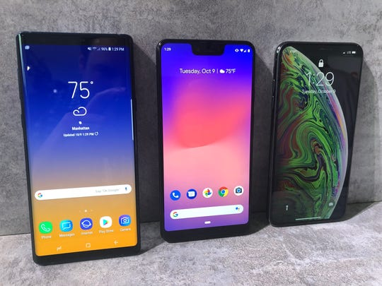 From left: Samsung's Galaxy Note 9, Google's Pixel 3 XL and the iPhone XS Max.
