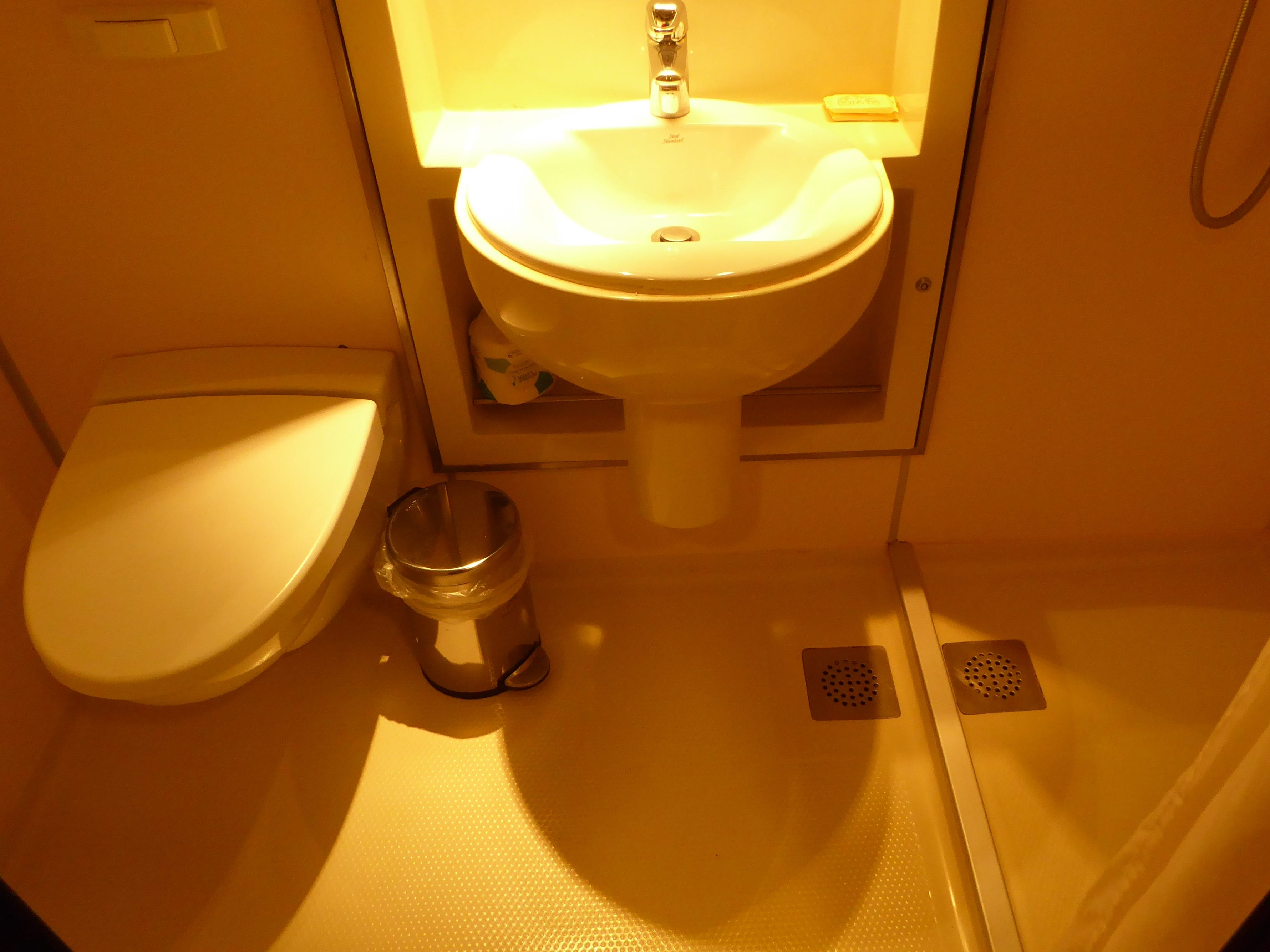 Standard bathrooms in Oceanview and Interior Staterooms are modular and have a toilet, sink and shower.